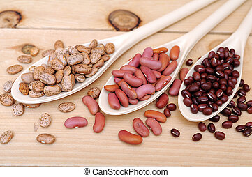 bean spoons - three bean spoons with pinto, light red, and...