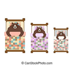 Three Bear sleeps in bed. sleeping grizzly. Vector illustration