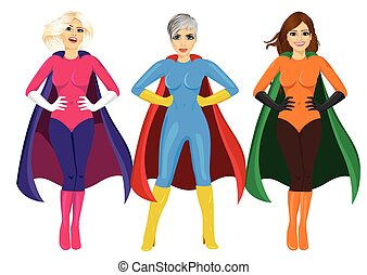 three beautiful girls in superhero costume standing with hands on hips