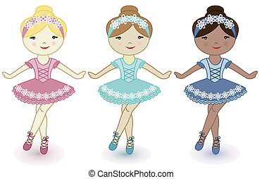 Three beautiful girls of ballerinas - Three beautiful lovely...