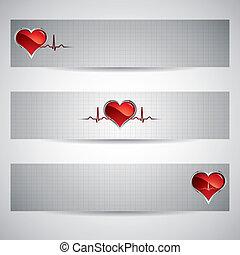 Medical banners - Three beautiful heart beats vector...