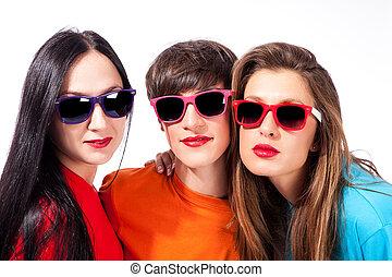 Three beautiful ladies on white background