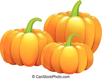 Three beautiful pumpkins without leaves