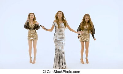Three beautiful sexy girls are dancing. slow motion
