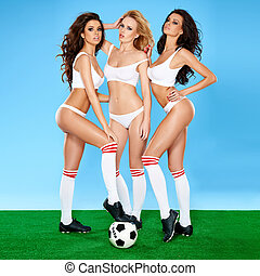 Three beautiful sexy women soccer players - Three gorgeous...