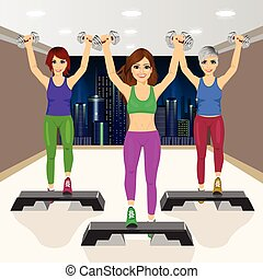 three beautiful young girls doing aerobic exercises at gym
