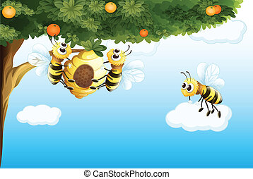 Three bees with a beehive