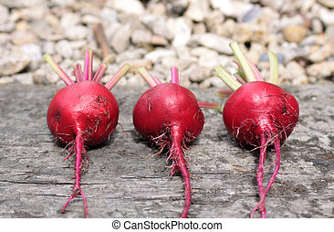 Three beetroots