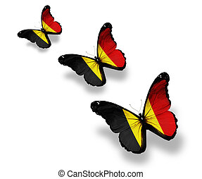 Three Belgian flag butterflies, isolated on white