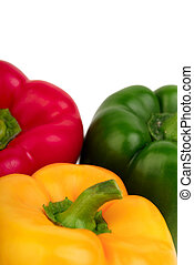 Three bell peppers - red, yellow and green