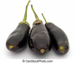 Three big eggplants on a white background.
