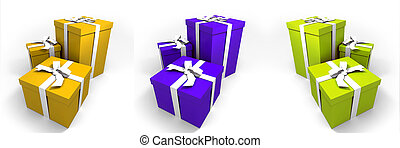 three Big green gift boxes with a white ribbons on a neutral background