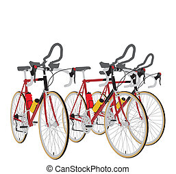 Three Bikes In The Line Race