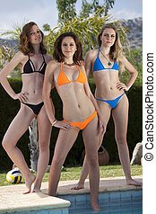 Three Bikini Girls