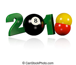 Three Billiard balls 2018 Design with a white Background