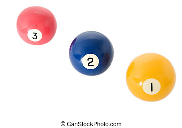 Three billiard balls close up on white background