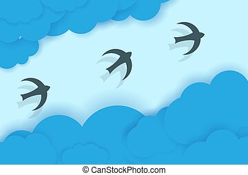 Three birds flying between blue clouds.