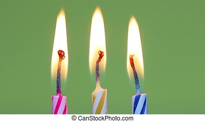Three birthday candles