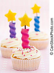 Three birthday cupcakes