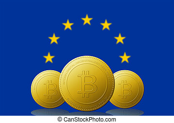 Three Bitcoin cryptocurrency with EUROPEAN UNION flag on background.