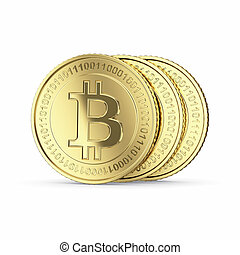 Three Bitcoin digital currency coin - Golden Bitcoin...