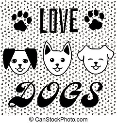 Three black and white cartoon dogs, text 'love dogs', paw footprints