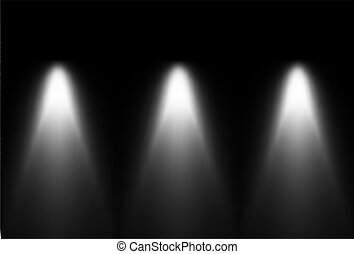 Three black and white light source. Vector