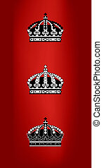 crowns - three black and white vector crowns made in adobe...