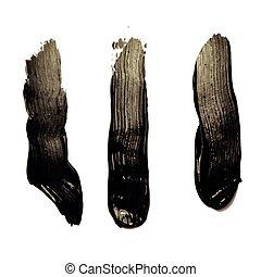 Three black brush strokes on white background