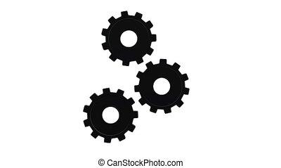 Three black gears spinning flies . White background. Alpha...