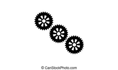 Three gears spinning flies out one and become in one mechanism interacts. White background. Alpha channel