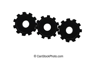 Two gears spinning flies out one and become in one mechanism interacts. White background. Alpha channel