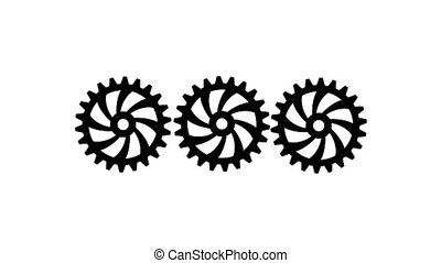 Three black gears spinning . White background. Alpha channel...
