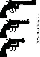 Three black revolvers