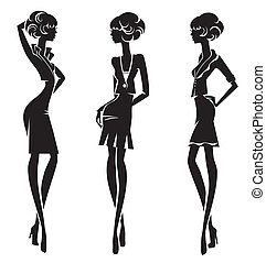 Three black silhouette stylish gir
