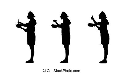Three black silhouettes of cook female in uniform trying...