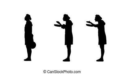 Three black silhouettes of lady cook reacting to dish's...
