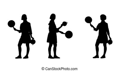 Three black silhouettes of lady cook skillfully handles...