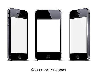 Three black smartphones. Vector EPS10