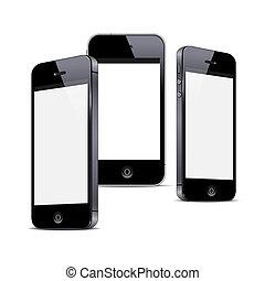 Three black smartphones isolated on white background