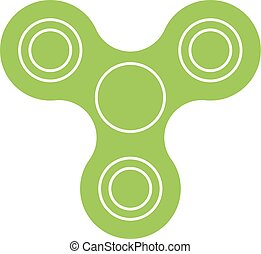 Three-bladed fidget spinner - popular toy and anti-stress tool. Green simple flat vector icon isolated on white background
