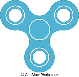 Three-bladed fidget spinner - popular toy and anti-stress tool. Blue simple flat vector icon isolated on white background