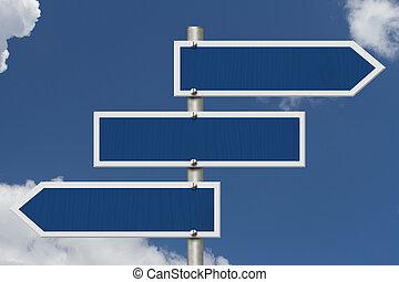 Three blank blue highway road sign