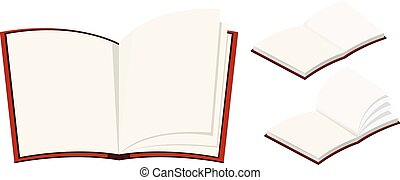 Three blank books on white background