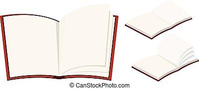 Three blank books on white background