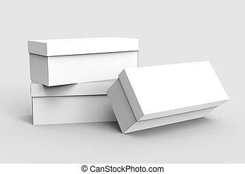 three blank boxes