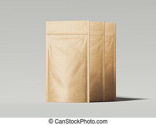 Three blank packaging recycled kraft paper bags. 3d ...