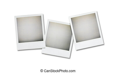 three blank pictures overhead isolated on white with cl