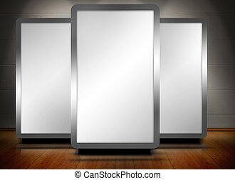 Three blank screens standing on wooden floor with spotlights above