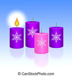 Three Blue and One Pink of Christma - Four Christmas Candles...